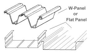 Roof Panels : W Panel Or Flat Panel Depending On Type Of Cover Ordered.  (two Flat Pan Styles Shown)