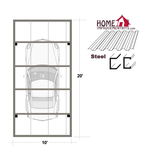 Single Car Carport Dimensions : Single car carport kits sale save