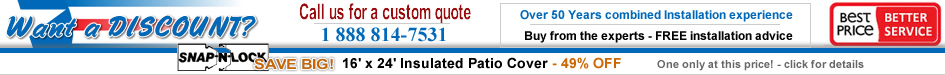 Save Huge on this in stock insulated patio cover